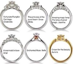 Disney just released princess engagement rings. They have Disney Princess inspired wedding dresses, too. I think it's safe to say I am having a disney wedding. Disney Princess Engagement Rings, Princess Wedding Rings, Princess Cut, Engagement Bands, Silver Engagement Rings, Princess Jasmine, Princess Mary, Wedding Engagement, Mermaid In Love