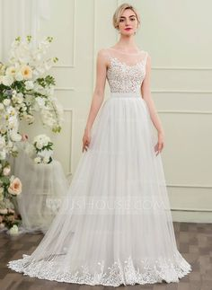 7d871aed48 A-Line Princess Scoop Neck Sweep Train Tulle Wedding Dress JJsHouse.