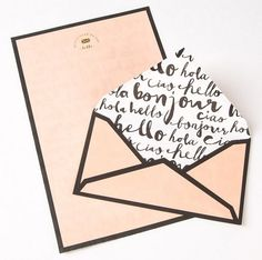 Cute and playful stationary. Envelope with handwriting inside  Follow me at https://es.pinterest.com/anakamina