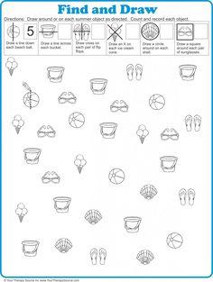 Summer Visual Perceptual Freebie from http://yourtherapysource.com/vpsummerfreebie.html