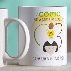 """Taza cerámica """"cómo se abre un coco"""" de Como Tinta"""