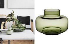 Urna vas från Marimekko i grönt Marimekko, Modern Rustic, Rustic Decor, Scandinavian, Vase, Decorating, Shopping, Design, Home Decor