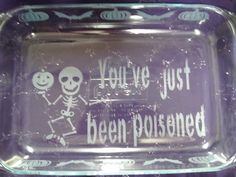 Etched Casserole Dish, Etched bakeware, Etched glass pan, Halloween Bake Dish