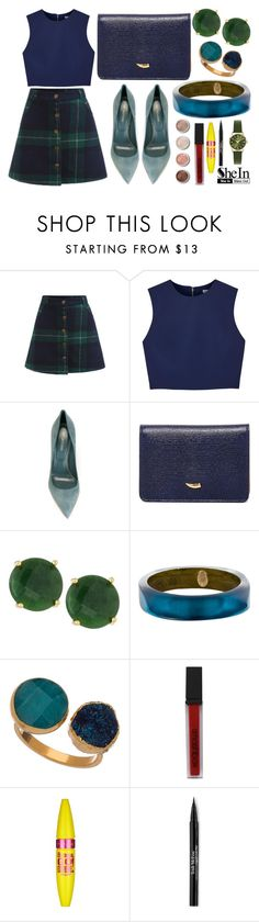 """Win a Fab Plaid Button Skirt - Shein Contest"" by misskali ❤ liked on Polyvore featuring Alice + Olivia, Sergio Rossi, Tusk, Panacea, Alexis Bittar, Janna Conner Designs, Terre Mère, Smashbox, Maybelline and Trish McEvoy"
