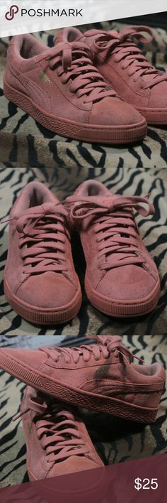 Pink Suede Pumas Sneakers Pink Suede Puma Sneakers they are pre-owned but for the most part are in good condition. Puma Shoes Sneakers