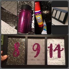 DIY bridal shower gift.. Cheap and easy. All you need is a three picture frame (dollar store or any store that may sell frames), scrap book paper of your choice, glitter and glue. For the numbers(wedding date) I used number stickers I found at hobby lobby n still super glued them to scrap paper to make sure it stayed in place!