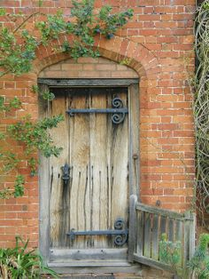 vine y old wood door.  fine hinges