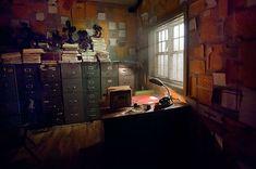 Sleep No More — Alexandra Schaller Detective Aesthetic, Detective Agency, Escape Room, Sleep No More, Private Investigator, Scenic Design, Police Station, Concept Art, Layout