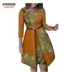 2019 verão vestido africano para as mulheres AFRIPRIDE luva dos três quartos do joelho-comprimento vestido de algodão mulheres com faixas botão A1825063 Loja Online | aliexpress móvel
