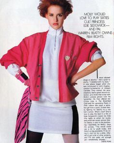 When Molly Ringwald posed for this shoot, she was in the middle of filming Pretty in Pink—her second John Hughes film. With the blockbuster success of their first collaboration (Sixteen Candles), and their third (The Breakfast Club) already scheduled for the following year, Ringwald was the undisputed It-girl of the mid-'80s. And apparently, according to this article, Warren Beatty was her mentor, which is...interesting. (October 1985)
