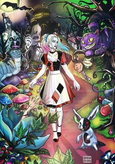 Perfect. Yes. Two loves combined Harley Quinn Comic, Joker And Harley Quinn, Harley Quinn Tattoo, Harley Quinn Drawing, Personnages Looney Tunes, Wonderland Tattoo, Disney Art, Comic Art, Character Design