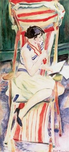 """"""" Mimi in the Deckchair Frank Frigyes (Hungarian, Oil on canvas. After World War I, Frigyes moved to Paris where his works were exhibited by the Societé des Artistes Français and the Salon d'Automne. At an exhibition in. Reading Art, Woman Reading, Reading Books, Image Avatar, People Reading, Books To Read For Women, Book Images, Love Art, Female Art"""