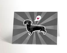 La carte Teckel Dachshund, Illustration, Etsy, Club, Sad, Black N White, Dog, Weenie Dogs, Weiner Dogs