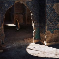 Pointed Arch With Remains of the Glazed Tile Decoration in the Blue Mosque of Tabriz, Iran