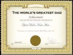 Best dad certificate printable award fathers day crafts create high quality worlds greatest dad certificate for fathers day yadclub Gallery