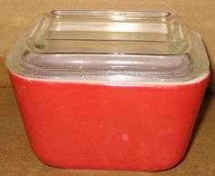$12.95 VTG Red Pyrex Glass Covered Dish w Clear Lid Refrigerator Storage Baking Serving #Pyrex