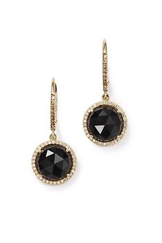 Black Onyx and Diamond Round Drops in 14k Yellow Gold #anthropologie