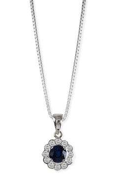 Fink's Jewelers - Fink's Round Sapphire and Diamond White Gold Pendant  , $820.00 (http://finksjewelers.com/finks-round-sapphire-and-diamond-white-gold-pendant/)