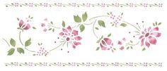 Floral with Double Border   Designer Stencils