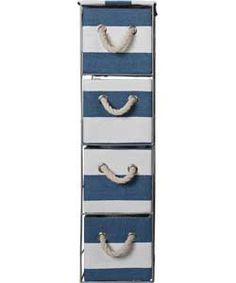 Tall 4 Drawer Storage Tower - Blue and White.