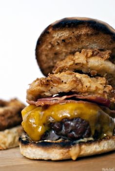 Cheddar Ranch Burger with Sour Cream Crispy Onion Rings