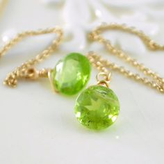 NEW Peridot Earrings, Genuine Lime Green Gemstone, Threader Earrings, August birthstone, Sterling Silver or Gold Jewelry, Free Shipping
