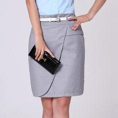 Corea señora de la oficina moda faldas lápiz más el tamaño S-4XL negro y gris Color ropa 2014 nueva carrera de la falda Formal de(China (Mainland))