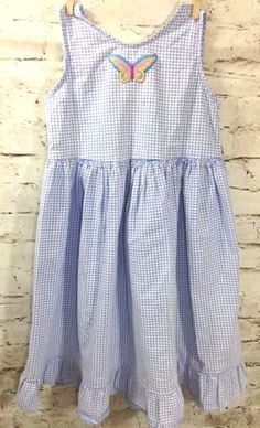 Fresh Produce Girls L Purple Gingham Butterfly Sun Dress 100% Cotton Made in USA #FreshProduce #Dress #Casual
