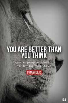 Yoga Quotes : gymaaholic: You Are Better Than You Think Ignore people who try to bring you do Fitness Motivation, Fitness Workouts, Fitness Quotes, Fun Workouts, Workout Meals, Post Workout, Lion Quotes, Me Quotes, Motivational Quotes