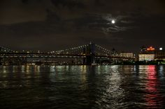 Moon over Brooklyn, New York Tribute In Light, New York City, Brooklyn, Moon, The Moon, New York, Nyc