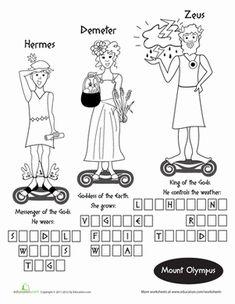 greek mythology worksheets greek mythology crossword puzzle answer key classroom jr school. Black Bedroom Furniture Sets. Home Design Ideas
