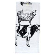 White Farm Animal Flour Sack Kitchen Towel Kitchen Towel - Threshold™ : Target