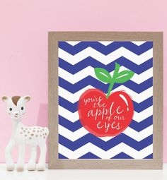 Apple Of Our Eyes Wall Art ~ Navy & Red. Kids wall art and wall prints.  Shop Love JK for nursery decor and nursery ideas.