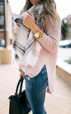 Winter scarf outfit, plaid scarf outfit, blanket scarf outfit, pink top out Winter Trends, Winter 2017, Fall 2018, Fall Winter Outfits, Autumn Winter Fashion, Spring Outfits, Winter Style, Women Fall Outfits, Fall Work Outfits
