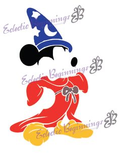 Disney Digital File, DIY Print Iron On-Magician Magic Fantasia Mickey Mouse Outline Silhouette INSTANT DOWNLOAD