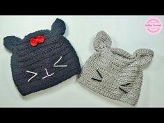 Gorro gato a crochet fácil, (todas las tallas), paso a paso - YouTube