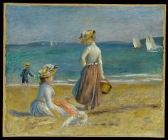 Auguste Renoir (French, 1841–1919). Figures on the Beach, 1890. The Metropolitan Museum of Art, New York. Robert Lehman Collection, 1975 (1975.1.198) | Painted later in Renoir's career, a period at which point the artist expressed skepticism of industrialism and machines, this quiet seascape pays homage to the resplendent beauty of what is ordinary and simple. #dogs