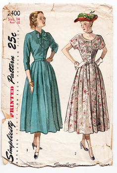 Vintage 1949 Simplicity 2400 Sewing Pattern by SewUniqueClassique