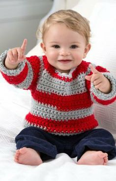 Go Team Go! Baby Sweater Free Crochet Pattern from Red Heart Yarns ❀❀❀Teresa Restegui http://www.pinterest.com/teretegui/ ❀❀❀