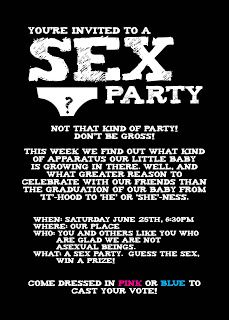 Glued To Glory: Sex Party: a.k.a. Gender Reveal Party. Lots of pictures of a great Gender reveal party.  Great ideas.