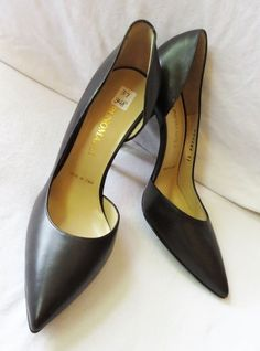 NIB $348 BRUNO MAGLI Dk Brown Supple Leather Hi Heel D'ORSAY Pumps Italy 37 6.5 #BrunoMagli #PumpsClassics