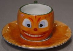 Rare ANTIQUE VINTAGE MADE IN GERMANY HALLOWEEN PUMPKIN CHILD'S TEA CUP & SAUCER — Halloween Collector.com
