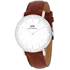 The Daniel Wellington watch with its interchangeable straps speaks for a classic and timeless design suitable for every occasion This women's watch from the St. Mawes collection features a brown leather strap and white dial.