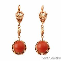 Vintage Coral Cabochon 18K Yellow Gold Drop Earrings 10 5 Grams | eBay