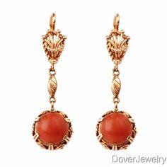 Vintage Coral Cabochon 18K Yellow Gold Drop Earrings 10 5 Grams | eBay