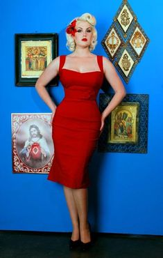 Pin up clothing  The Jessica Wiggle Dress in Vintage Red by Pinup Couture