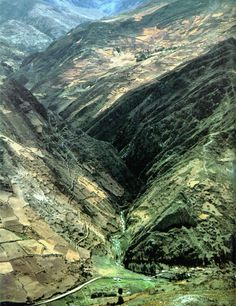 The incredible, remote location of the Chavin de Huantar complex, center of this culture, in the Cordilerra Blanca of the Andes in Peru. The major complex can be seen in the bottom center of this picture.