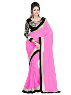 Pink Faux Georgette Lace Work Saree - Rs. 950.00