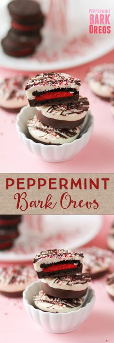 Peppermint Bark Oreos -- these are perfect for Christmas and gifting! Wrap up in a little tin and they look so pretty!