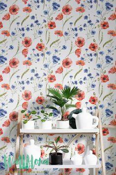 Cornflower & Poppy Wallpaper   Removable Wallpaper   Self Adhesive Wallpaper   Temporary Wallpaper   Wall Sticker   Wall Decal